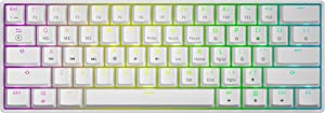 GK61 Mechanical Gaming Keyboard - 61 Keys Multi Color RGB Illuminated LED Backlit Wired Programmable for PC/Mac Gamer (Gateron Optical Clear, White)
