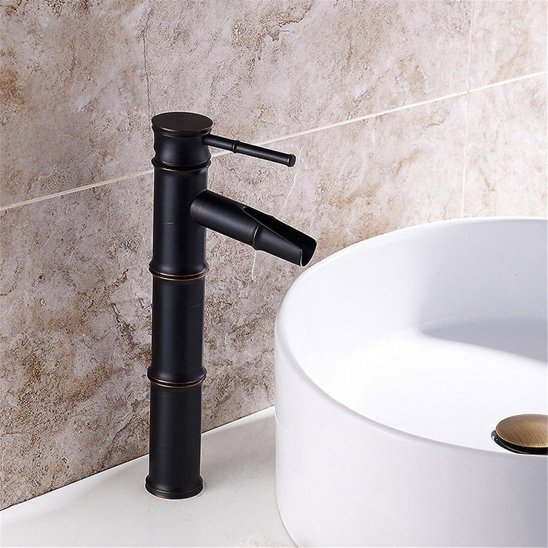Bijjaladeva Antique Bathroom Sink Vessel Faucet Basin Mixer Tap Antique Bamboo Washbasin Faucet black basin cold water faucet Single Handle Single Hole