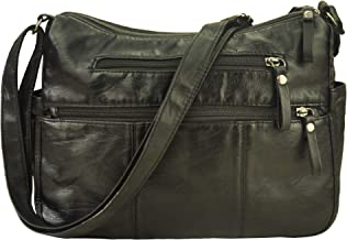 leather handbag with compartments