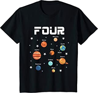Kids 4 Year Old Outer Space Birthday Shirt Solar Planets 4th Gift