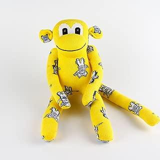 Handmade Cartoon Print Yellow Traditional Sock Monkey Doll Baby Gift Toy