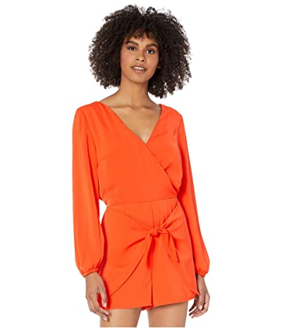 Cupcakes and Cashmere Gideon Soft Satin Romper w/ Wrap Tie Shorts (Red Hots) Women