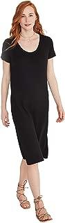 Women's Lightweight Short Sleeve Loose Long Rib Plain Summer Maxi Dress