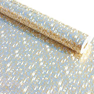 QIHANG Luxury Pale Gold Foil Mosaic Background Flicker Wall Paper Modern Roll/Hotel Ceiling/Decorative Wallpaper Roll Pale Gold Colour