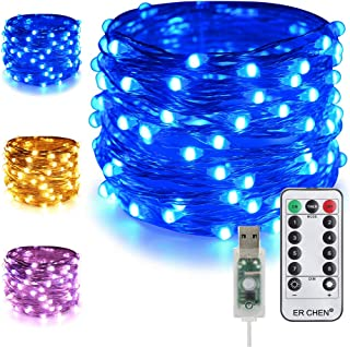 ER CHEN Dimmable USB String Lights, 33ft 100 LED Warm White & Blue Color Changing Fairy Lights with Remote&Timer, 8 Modes Silver Coated Copper Wire Lights for Bedroom, Patio, Party