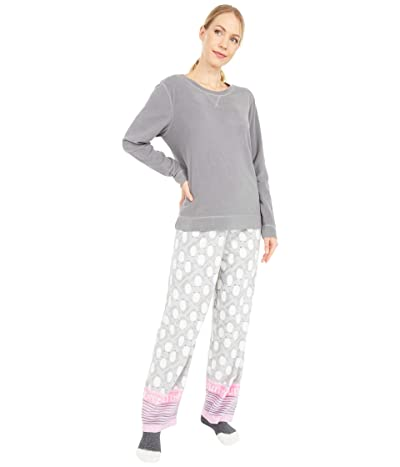 HUE Wobbly Penguin Fleece PJ Set with Socks (Castlerock) Women