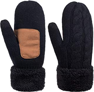 Winter Wool Mitten Gloves For Women, Warm Knit Touchscreen Thermal Cable Gloves With Thick Fleece Lining