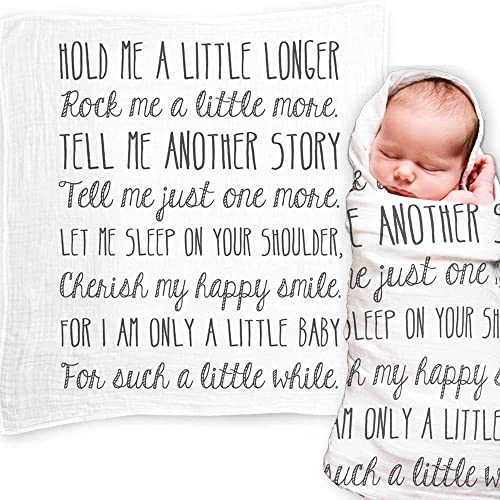 Ocean Drop Designs - White Muslin Baby Swaddle Blanket with 'Hold Me A Little Longer