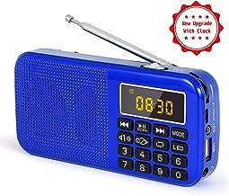 PRUNUS J-725C Reloj Mini Radio Ultra Fina Despertador Portable de FM MP3 con la Linterna de Emergencia, batería Recargable y reemplazable, Antena Larga. Almacena Estaciones automáticamente. (Azul.)