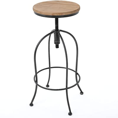 """Christopher Knight Home Aleena Firwood and Iron Bar Stool, 28.25"""", Black / Off-White"""