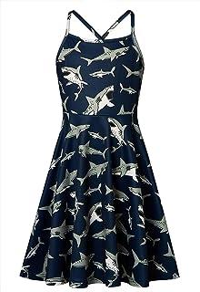 Loveternal Girls Summer Spaghetti Strap Casual Above Knee Cami Dress Colorful Retro Twirl Swing Dresses Size 4-13