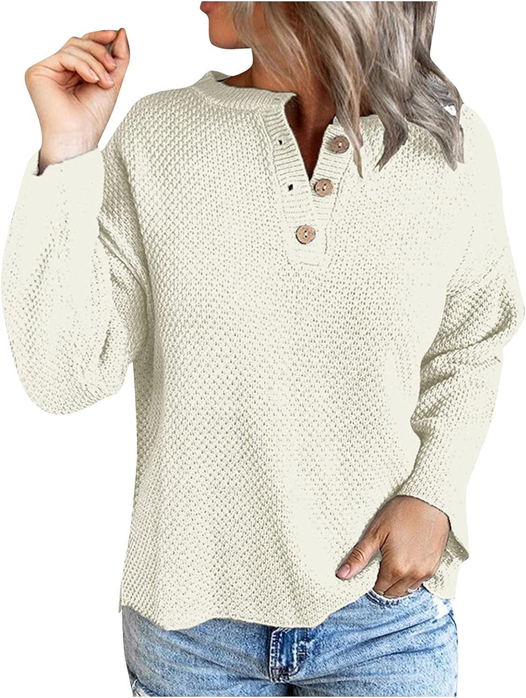 VISOEP Womens Lightweight Henley V Neck Sweater Button Long Sleeve Knit Tops Casual Loose Blouse Shirt