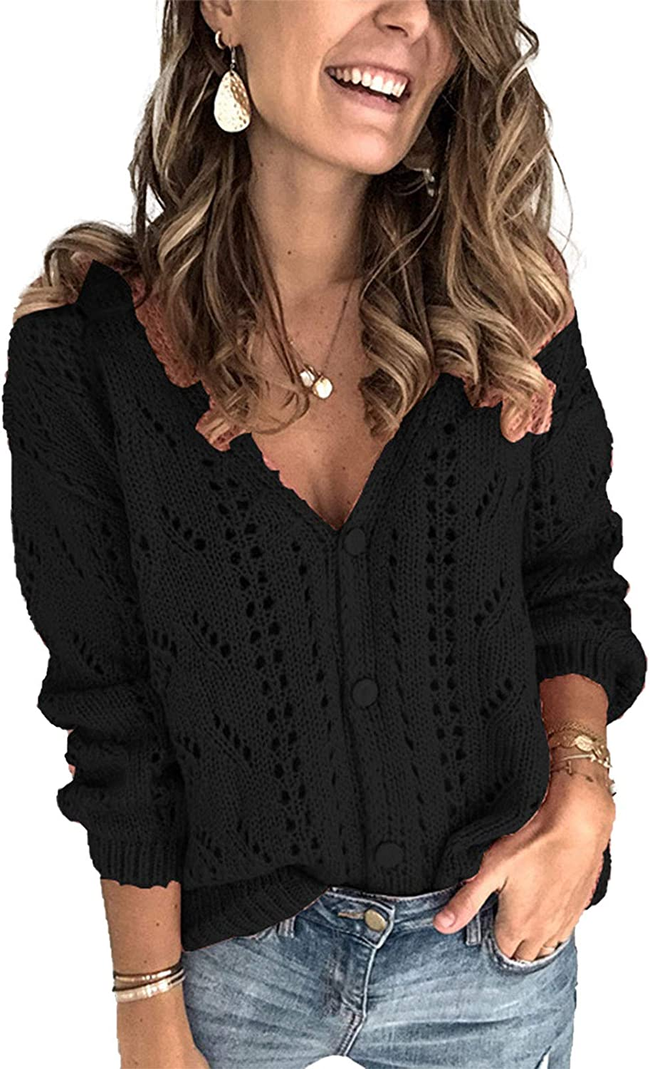 Womens Loose Knit Sweaters Hollow Out Knitwear Outwears Casual Long Sleeve Button V Neck Cardigans