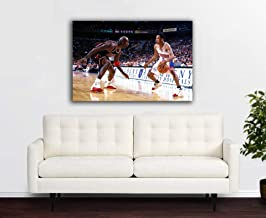 Jordan vs Iverson on Canvas Made in US (30X40)