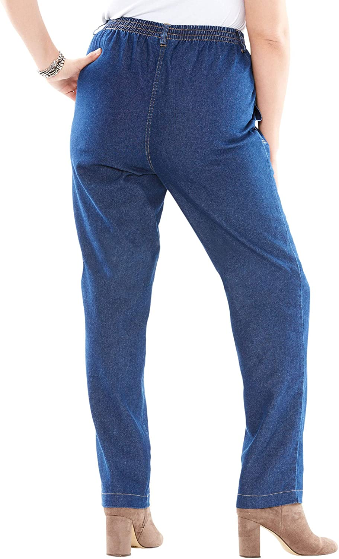Roamans Women's Plus Size Seamed Kate Jean 100% Cotton Elastic Waist Denim
