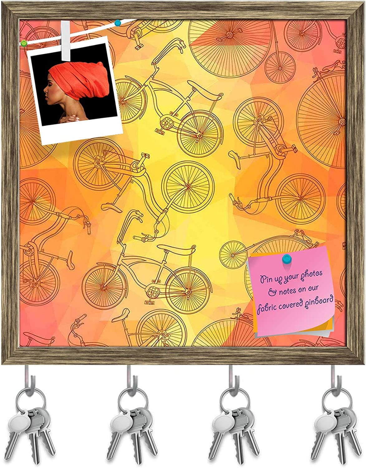 Artzfolio Bicycles D7 Key Holder Hooks   Notice Pin Board   Antique golden Frame 20 X 20Inch