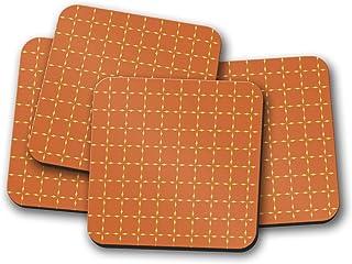 Posavasos naranja con diseño de cuadrados retro de los años 70, posavasos individuales o juego de 4