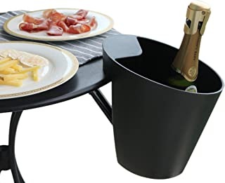 Space saver Ice Bucket, Patented mechanism, Designed in France, Adjustable for table top thickness up to 2 inches, Matte Black, Simple Design, Space saving mechanism, Passed 11 Lbs Safety Test
