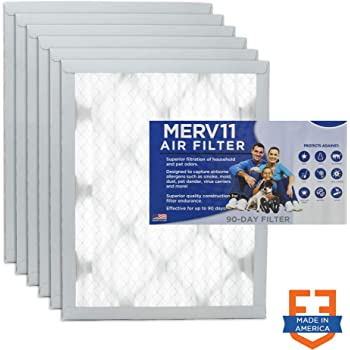 20 Nom Height x 20 Nom Width x 1 Nom Depth 6 Pack Made in USA Synthetic Wire-Backed Pleated Air Filter