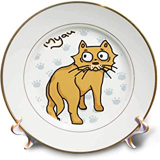 3dRose Warya - Animals. - Ginger Cat Say Meou - 8 inch Porcelain Plate (cp_299938_1)