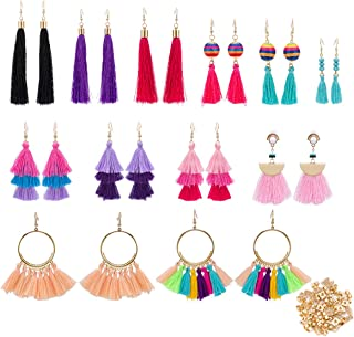 12 Pairs Colorful Thread Tassel Earrings Hoop Earrings, Fan-shaped Drop Earrings, Long Fringe Drop Bohemian Earrings and Tiered Dangle Earrings Gift Set for Women Girls Accessories (100 Earring Backs)