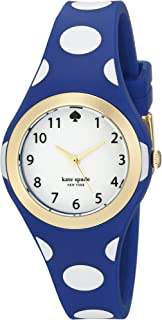kate spade new york Goldtone Rumsey Blue And White Polka Dot Silicone Watch