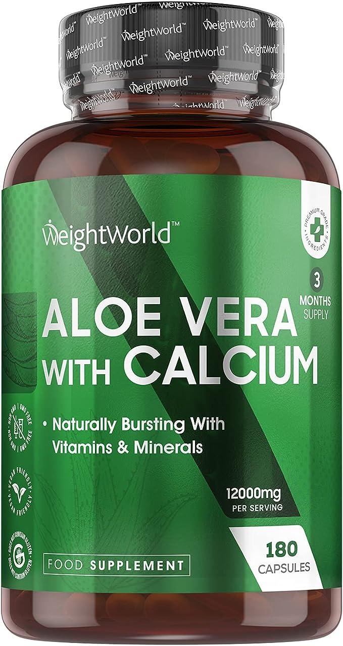 78 opinioni per Aloe Vera e Calcio- 180 Capsule Vegane da 12000mg (Fornitura per 3 Mesi)-