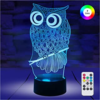 [ 7 Colors/3 Working Modes/Timer Function ] Remote and Touch Control Owl Night Lights, Dimmable LED Bedside Lamp for Children and Kid's Room