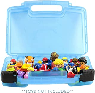 Life Made Better Little People Toy Storage Carrying Box, Mini Figure Organizer, Stores Figurines and Accessories, Blue