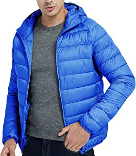 IZHH Men Parka Jacket Down Coat Quilted Thick Winter Warm Overcoat Solid Outwear