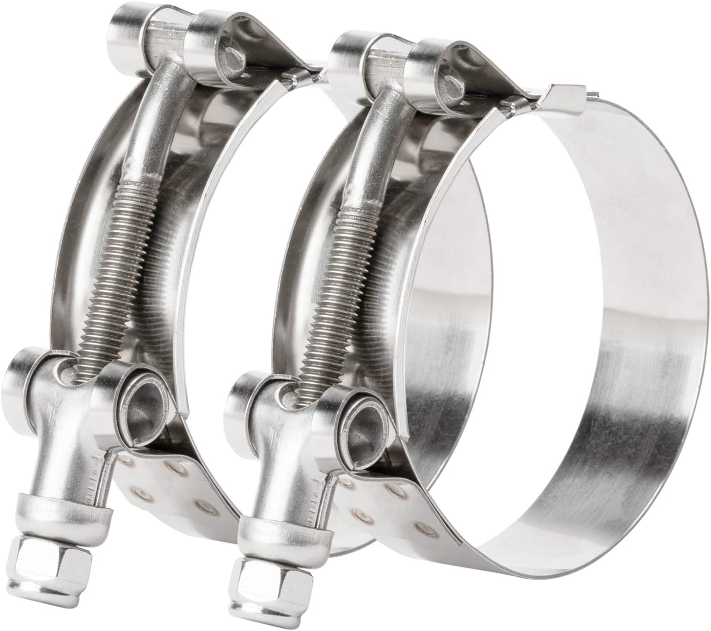 ISPINNER 2 Pack 4.5 Max 77% OFF Inch Stainless T-Bolt Hose Clamps Translated Steel Cla