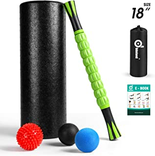 Odoland 6-in-1 18 Large Size Foam Roller Kit with Muscle Roller Stick and 3 Massage Balls,  High Density for Physical Therapy,  Deep Tissue Trigger,  Pain Relief,  Myofascial Release,  Balance Exercise
