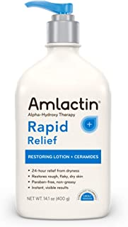 AmLactin Rapid Relief Restoring Lotion + Ceramides, 14.1 Ounce with Pump, Paraben Free
