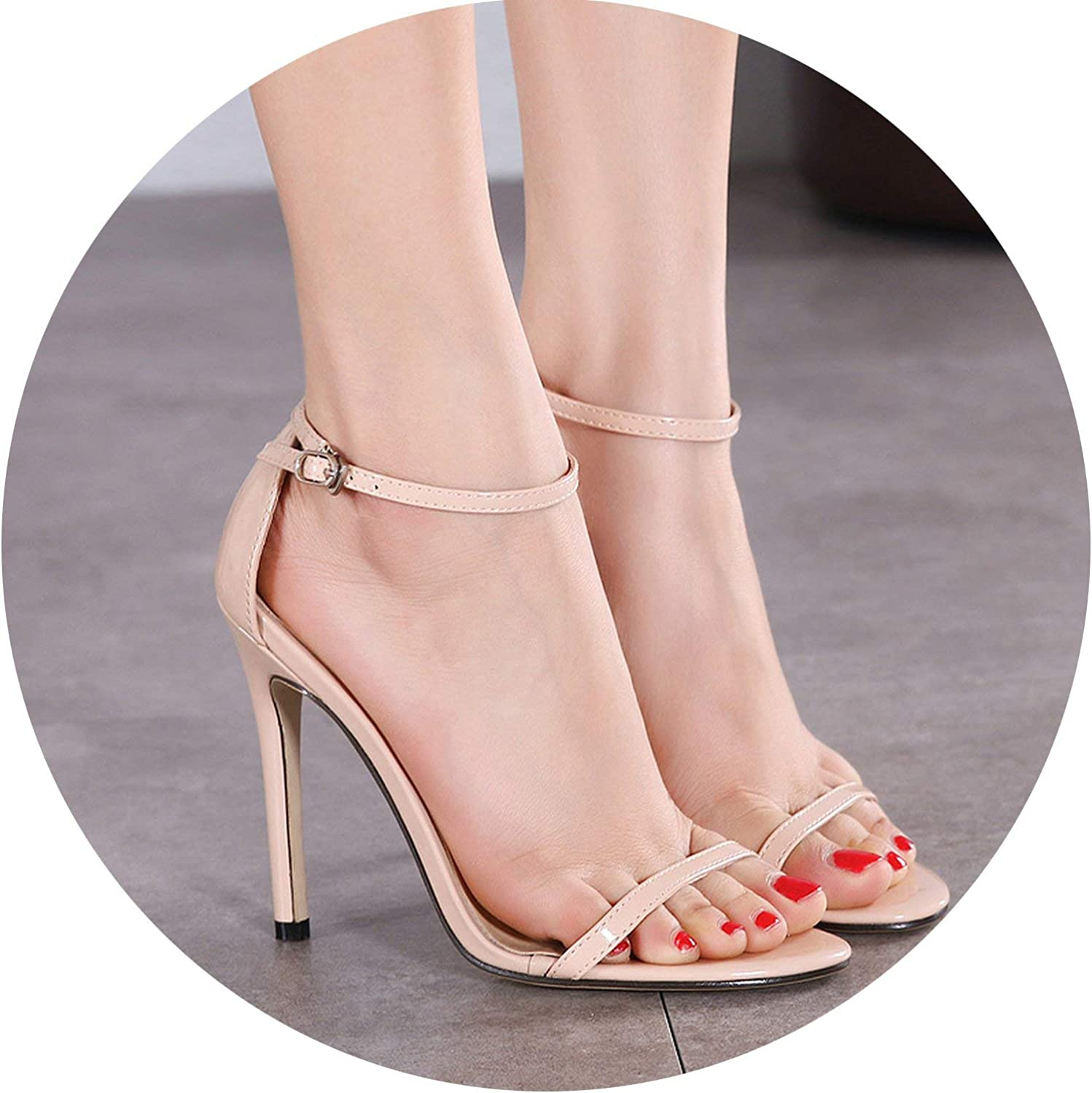 HANBINGPO Classics Sexy Women Red Wedding shoes Peep Toe Stiletto High Heels shoes Woman Sandals Black Red Nude Big Size 43 US10,Apricot,7