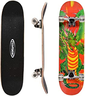 ChromeWheels 31 inch Skateboard Complete Longboard Double Kick Skate Board Cruiser 8 Layer Maple Deck for Extreme Sports and Outdoors