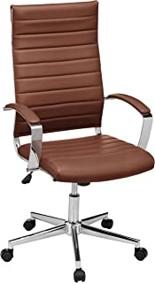 AmazonBasics High-Back Executive Swivel Office Desk Chair with Ribbed Puresoft Upholstery - Brick Red, Lumbar Support, Mod...