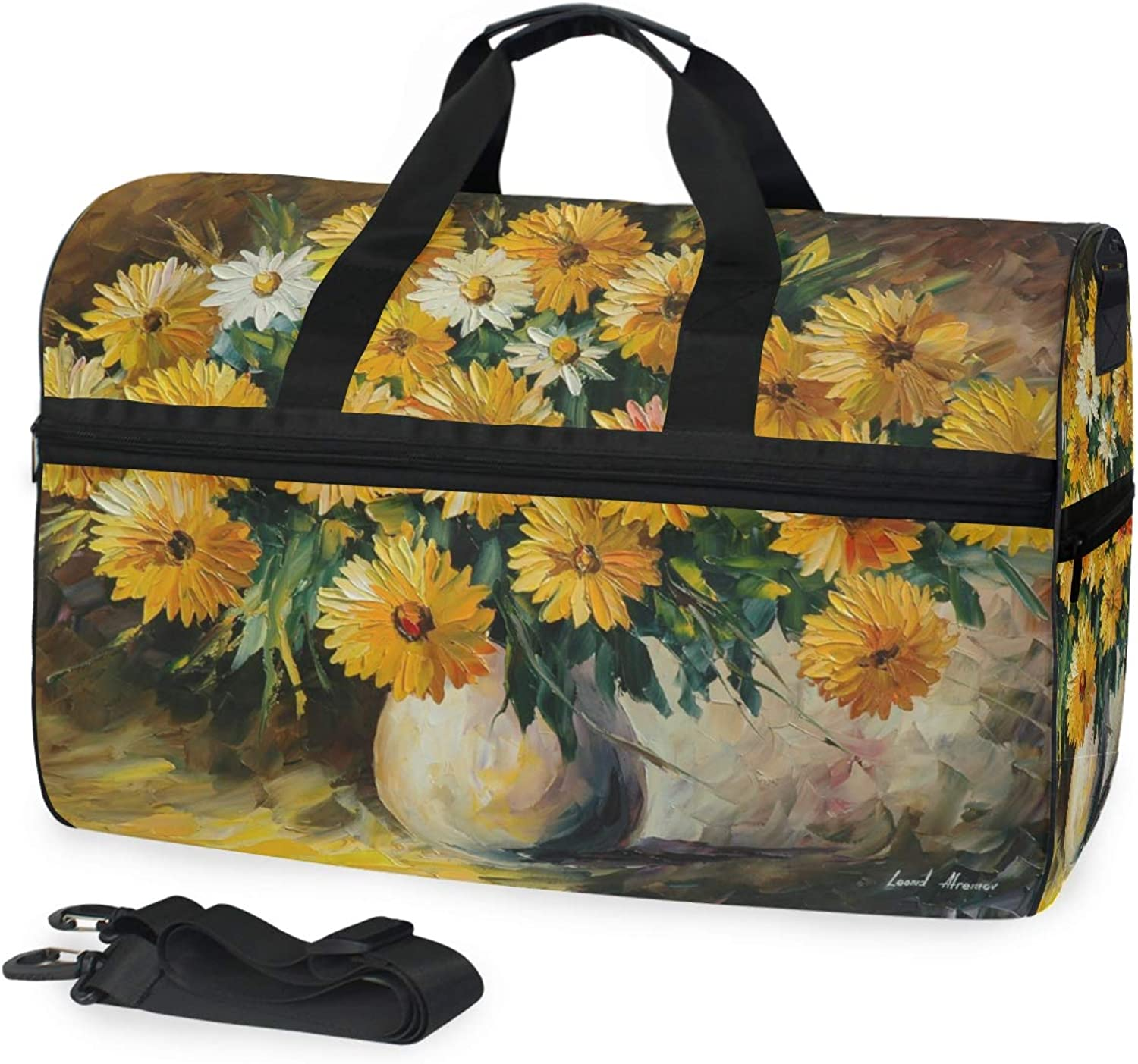 DEZIRO 45L Travel Duffel Bag Oil Painting Daisy Pattern Large Weekender Bag with shoes Compartment