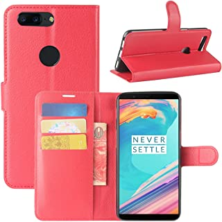 OnePlus 5T Case, Fettion Premium PU Leather Wallet Flip Phone Protective Case Cover with Card Slots and Magnetic Closure for OnePlus 5T Smartphone (Wallet - Red)