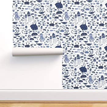 Removable Water-Activated Wallpaper Vintage Octopus Nautical Ocean Sea Blue