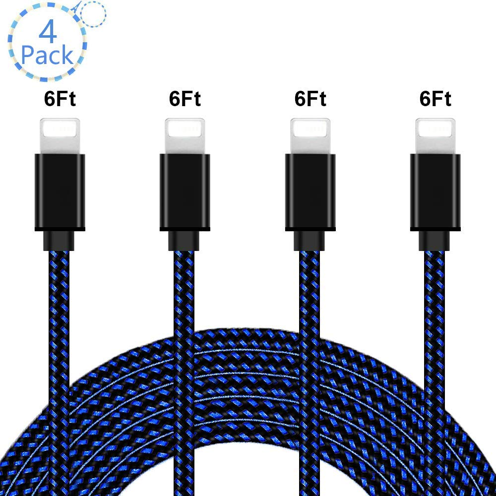 iPhone Charger,MFi Certified Lightning Cable Extra Long Nylon Braided USB Charging /& Syncing Cord Compatible iPhone Xs//Xs Max//XR//X//8//8 Plus//7//7 Plus//6S//6S Plus//SE//iPad//iPod V118 4 Pack 6FT