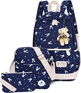 WSLCN Canvas Backpacks Set Girls School Bags Zipped Daypack Travel Satchel Shoulder Messenger Bag Kids Shoulder Bag Rucksack Laptop Casual Shoulder Bag Pencil Case Rabbit 3pcs B-Blue