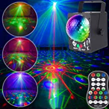 AZIMOM Sound Activated Party Laser light 2Len+RGB DJ Disco Ball Light Stage Lights Effect Projector with Remote Control Led Strobe Lamp for Party Supplies Christmas Halloween Decorations Gift Birthday