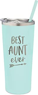 SassyCups Best Aunt Ever Tumbler | 22 Ounce Engraved Mint Stainless Steel Insulated Tumbler with Lid and Straw | Aunt Tumbler | New Aunt | For Aunt Bday | Aunt Again | Aunt Birthday | Aunt To Be