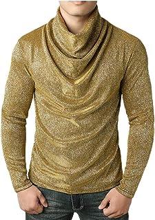 WSPLYSPJY Men's Hip Hop Long Sleeve Cowl Neck Autumn Winter T Shirt Tops Dark