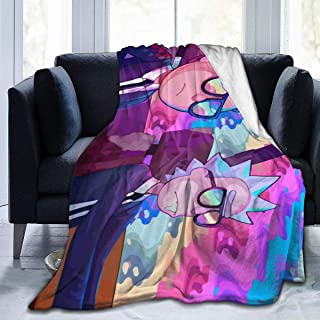 Sunshine-supermarket Cartoon Rick and Morty Funny Blanket 3D Print Anti-Pilling Flannel Throw Blanket for Children,80