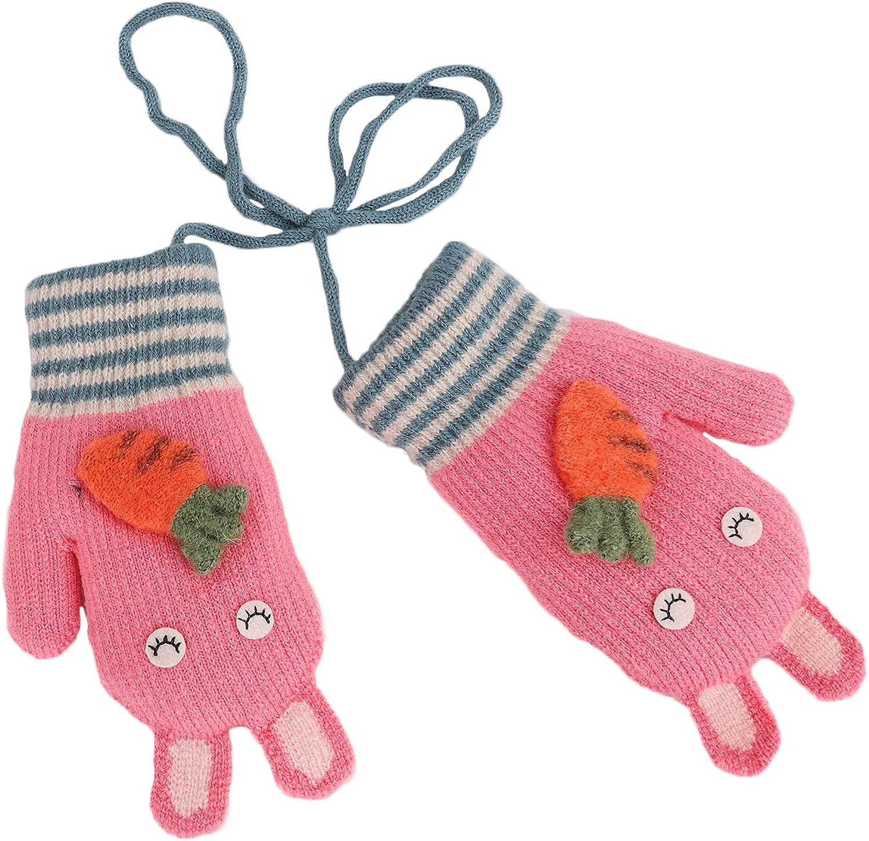 Kids Winter Knitted Ski Gloves Boys Girls Warm Fleece Lined Stretch Magic Gloves