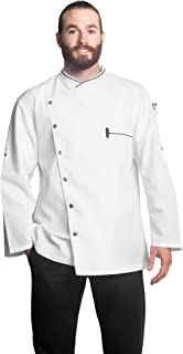 Bragard Men's Long Sleeve Chicago Chef Jacket with Honeycomb Weave and Piping - Sizes 34-54 US
