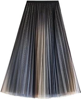 ZJMIYJ Kjolar för kvinnor – Gradient Mesh Midi lång kjol mode avslappnad hög midja elastisk 3 lager A-linje kjolar kvinnor...