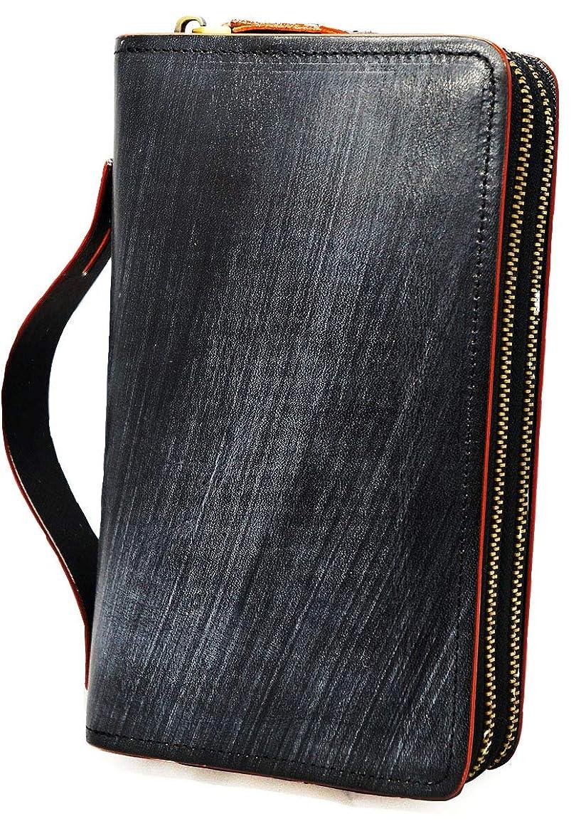 スピーチ除去計器[High-end] 極上イタリア製ブライドルレザー セカンドバッグ 財布 本革 YKK ME0215_d