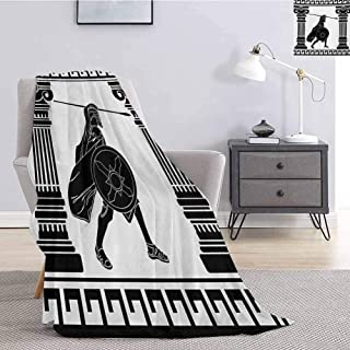 Luoiaax Toga Party Fuzzy Blankets King Size Black Warrior Silhouette Ready to Attack Between Ancient Ionic Palace Columns Soft Fuzzy Blanket for Couch Bed W40 x L60 Inch Black White